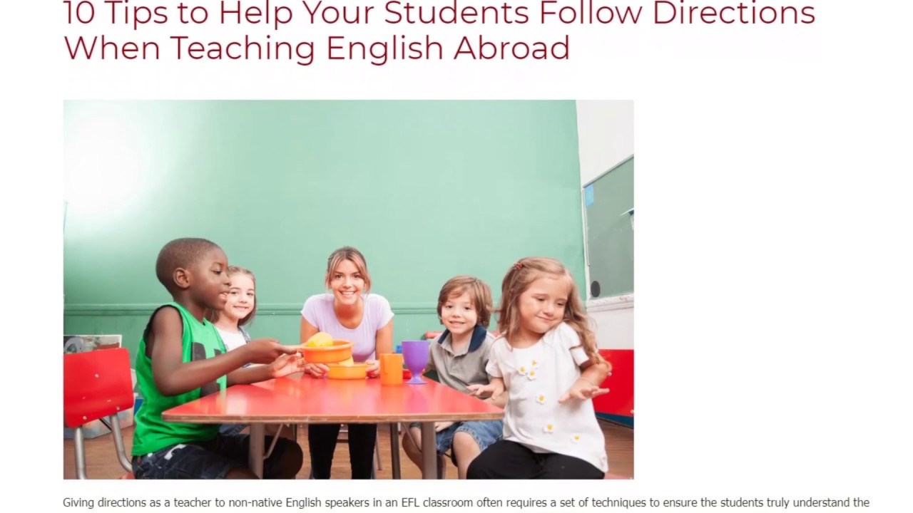 10 Tips to Help Your Students Follow Directions When Teaching English Abroad   ITTT TEFL BLOG