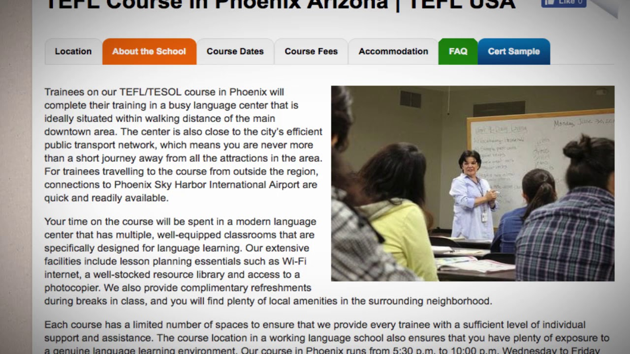 Welcome to Our TEFL / TESOL School in Phoenix, USA   Teach & Live abroad!