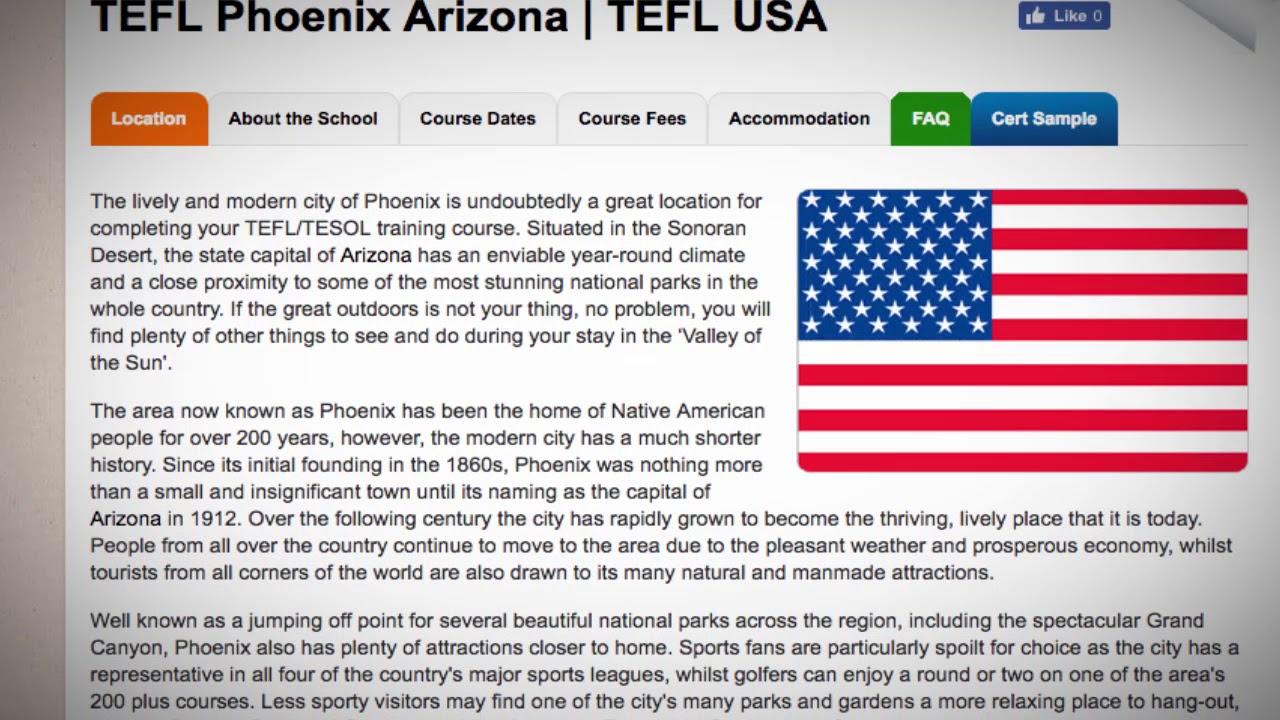 TEFL / TESOL Course in Phoenix, USA   Teach & Live abroad!