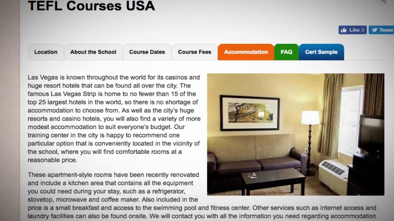 TEFL / TESOL School Accommodation in Las Vegas, USA   Teach & Live abroad!