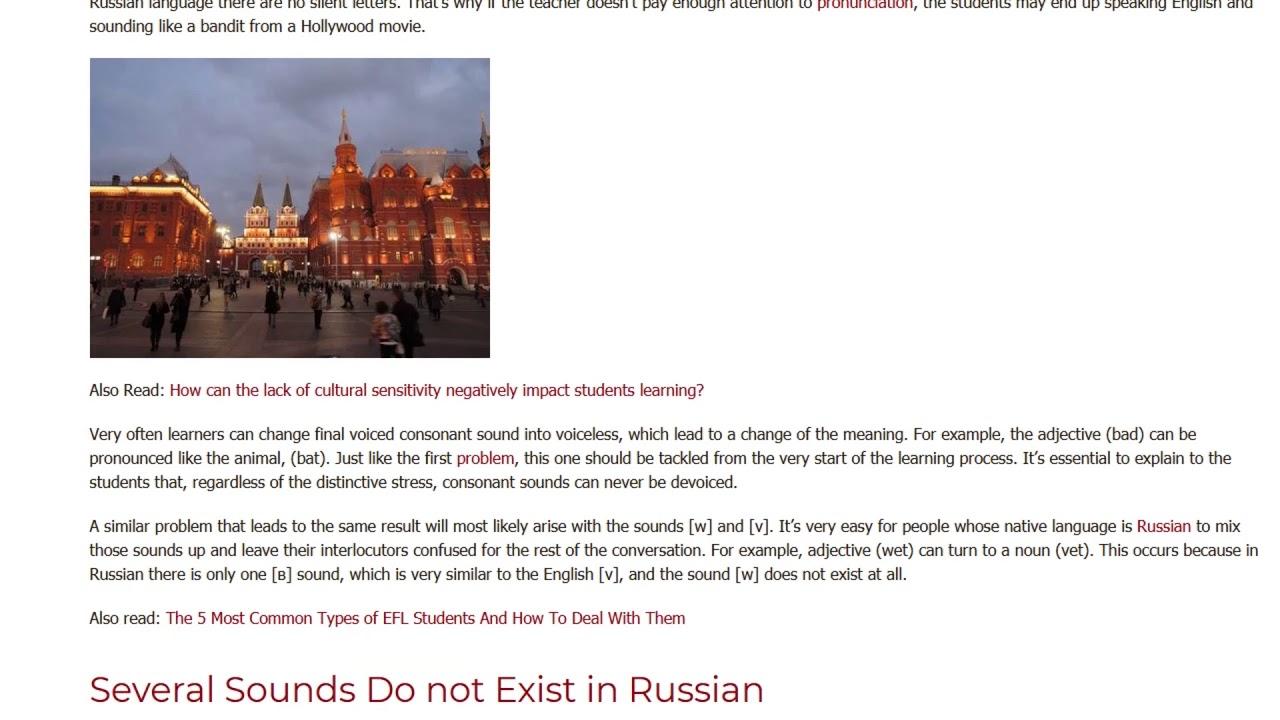 Common Pronunciation Errors Russian Native Speakers Make in English | ITTT TEFL BLOG