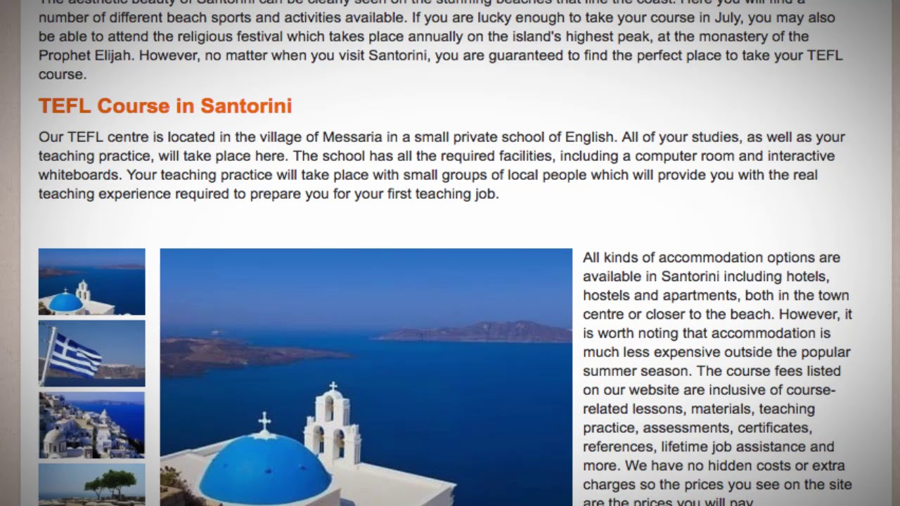 TEFL / TESOL Course in Santorini, Greece | Teach & Live abroad!
