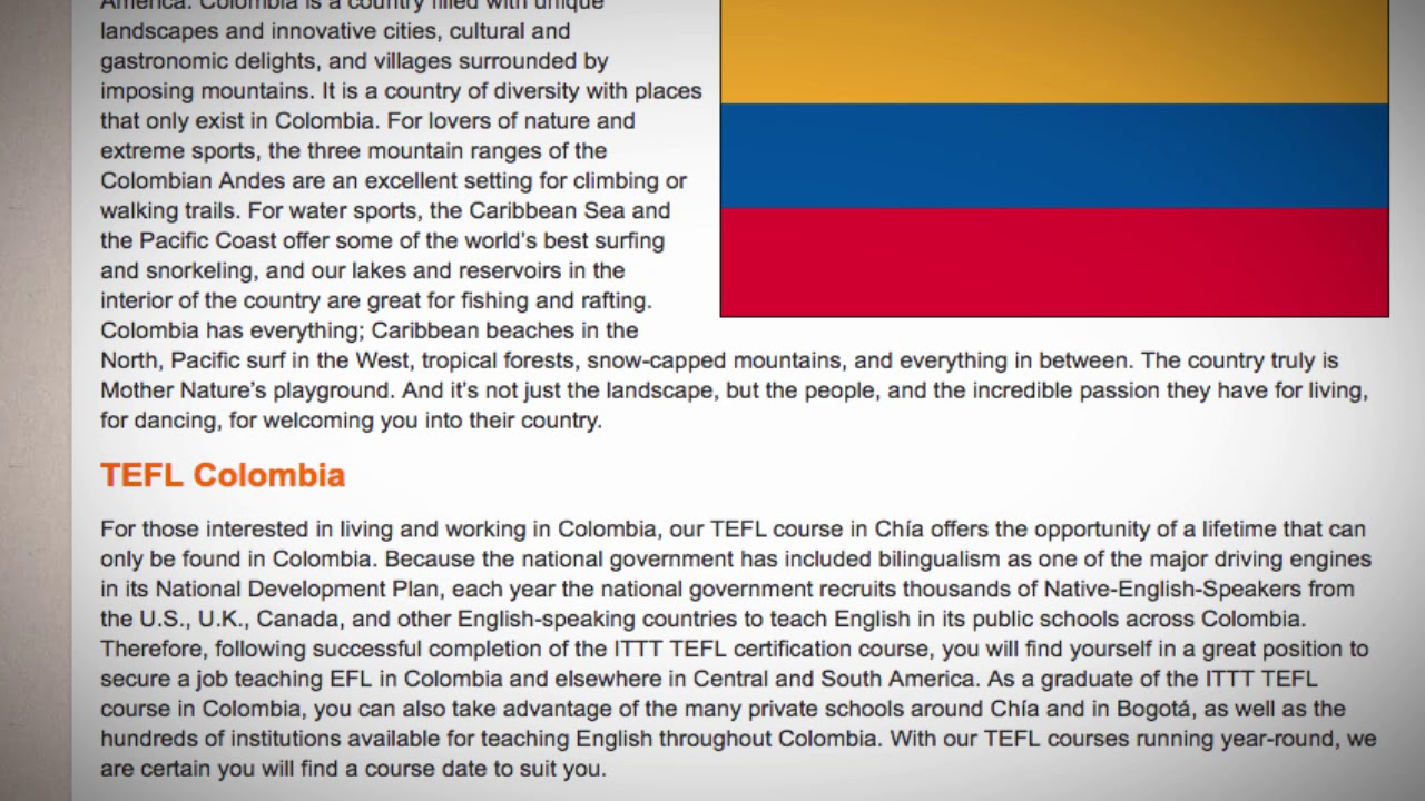 TEFL / TESOL Course in Colombia   Teach & Live abroad!