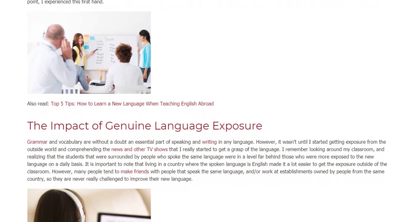 Why Exposure is Important when Learning a Second Language | ITTT TEFL BLOG