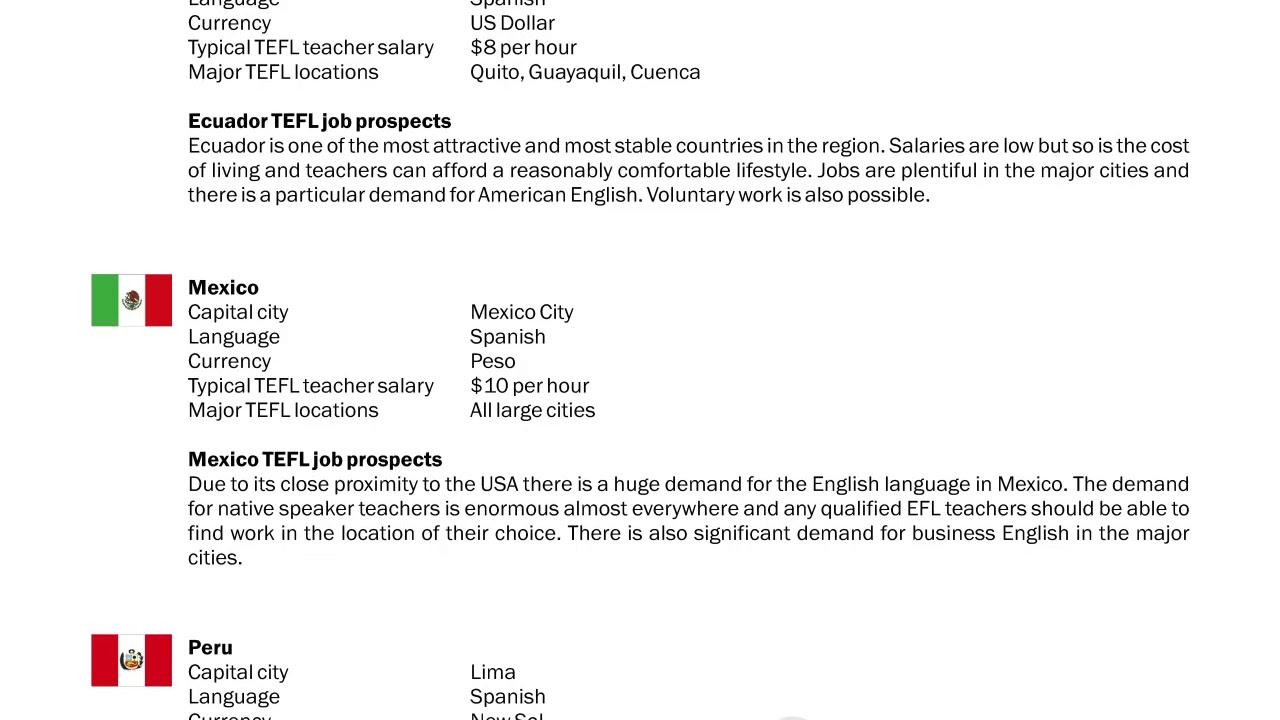 TEFL/TESOL Guide – Ecuador, Mexico & Peru   International TEFL and TESOL Training (ITTT)