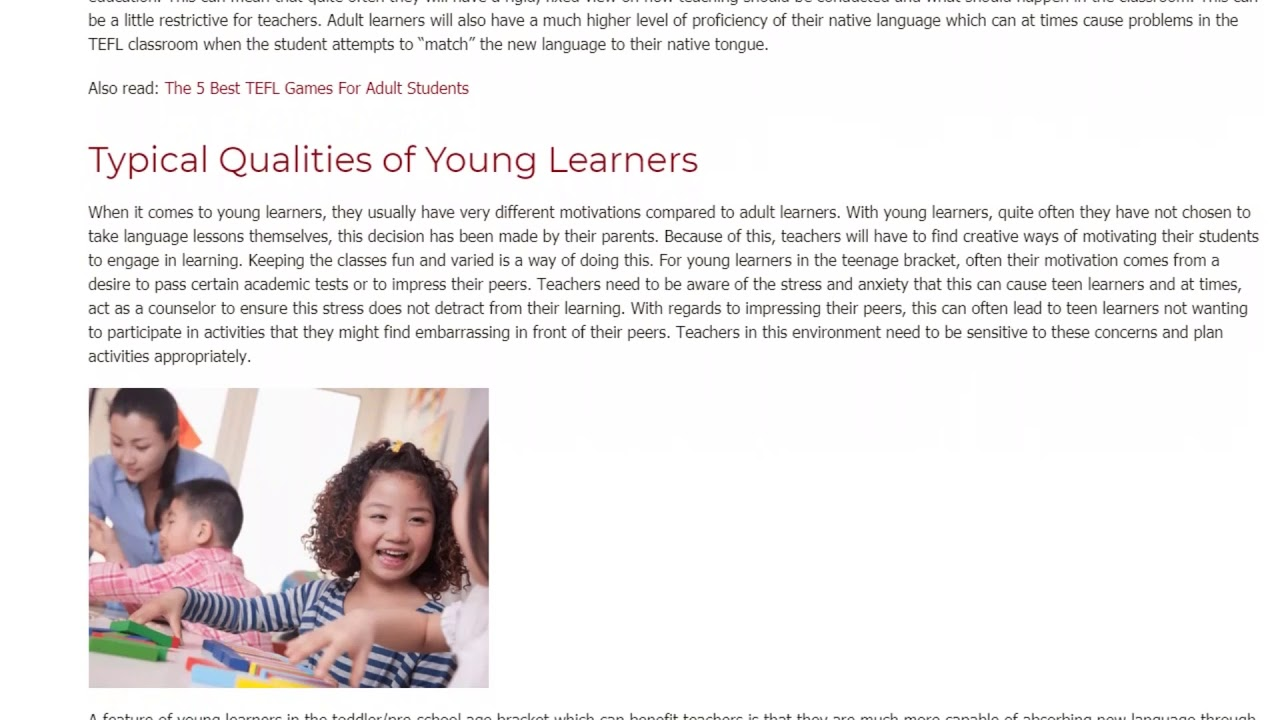 Differences between Young Learners and Adult Learners in the TEFL Environment | ITTT TEFL BLOG