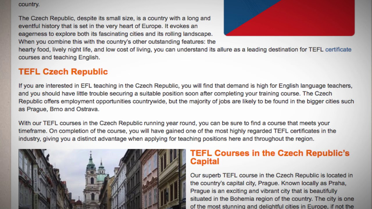 TEFL / TESOL Course in the Czech Republic   Teach & Live abroad!