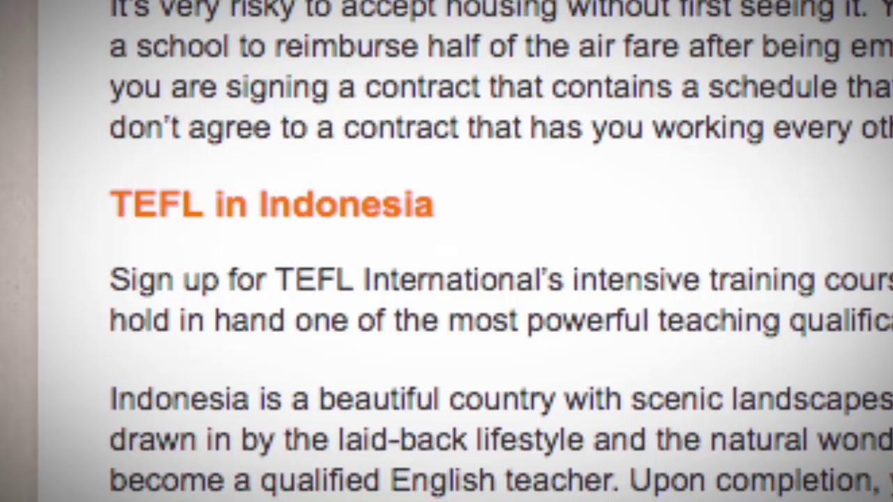 TEFL/TESOL Jobs in Indonesia | International TEFL and TESOL Training (ITTT)