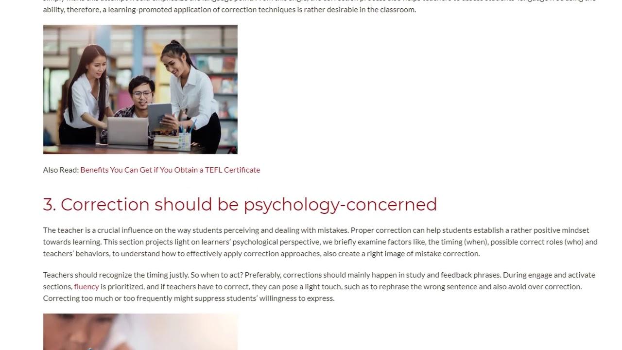 3 Easy Steps to Apply Correction Techniques | ITTT TEFL BLOG