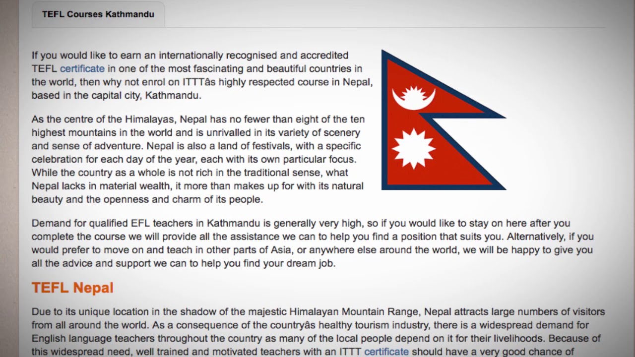 TEFL / TESOL Course in Nepal | Teach & Live abroad!