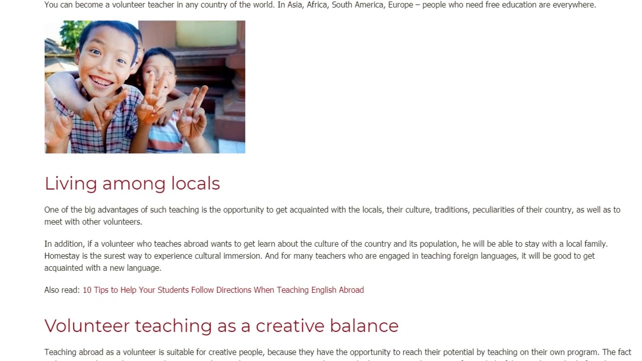 Top Reasons to Volunteer Abroad as a Teacher | ITTT TEFL BLOG