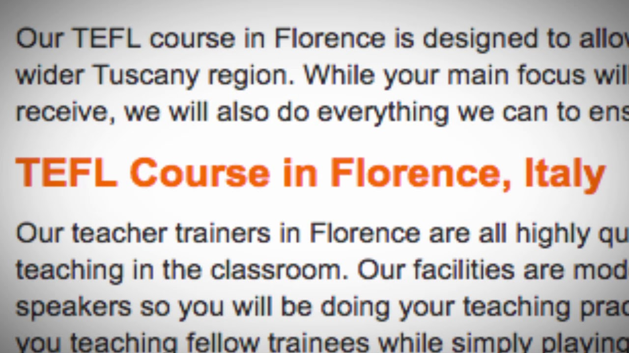 TEFL / TESOL Course in Florence, Italy | Teach & Live abroad!