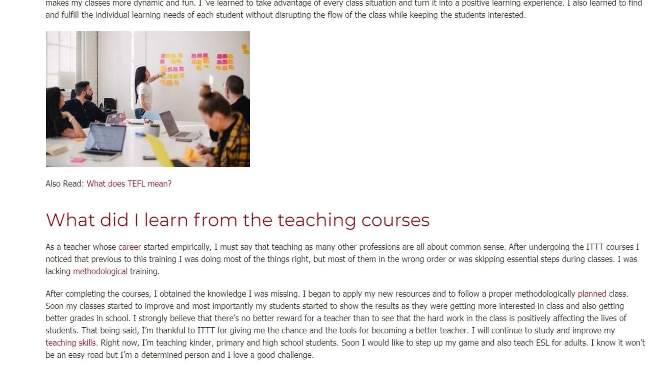 A TEFL Graduate Shares Her Personal Teaching Experience | ITTT TEFL BLOG