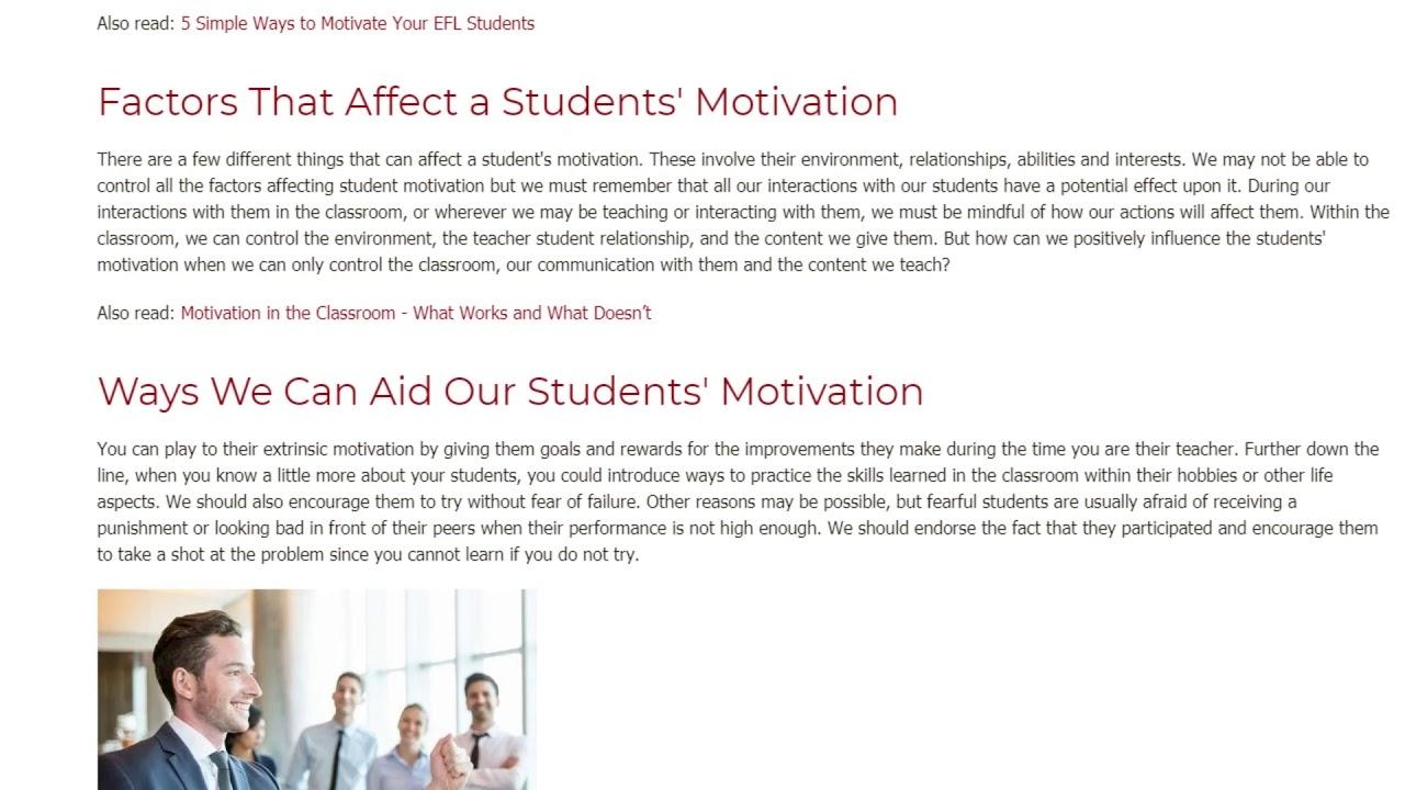 The Impact of Positive Motivation on an ESL Classroom   ITTT TEFL BLOG