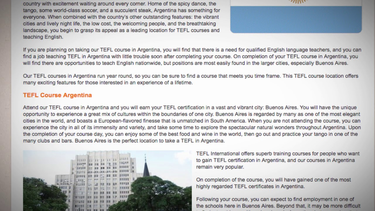 TESOL Course in Argentina   Teach & Live abroad!