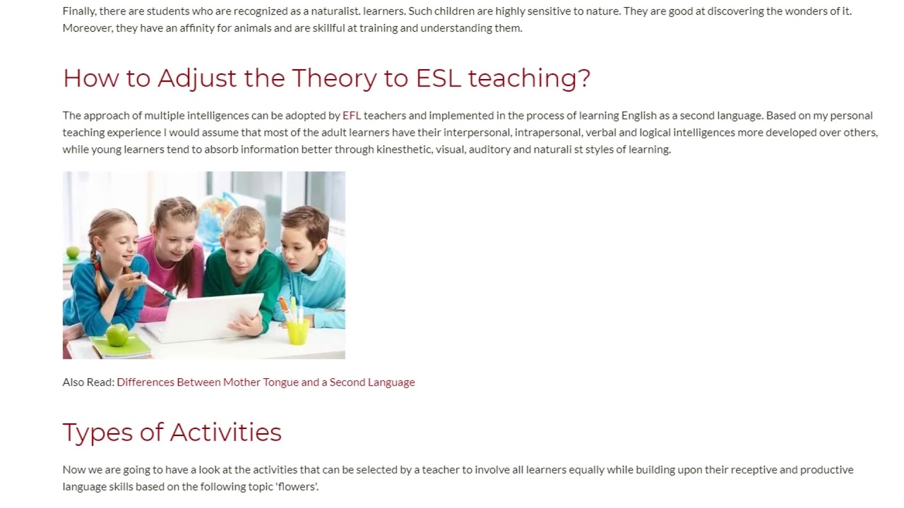 The Theory of Multiple Intelligences as an Integral Part of ESL Teaching | ITTT TEFL BLOG