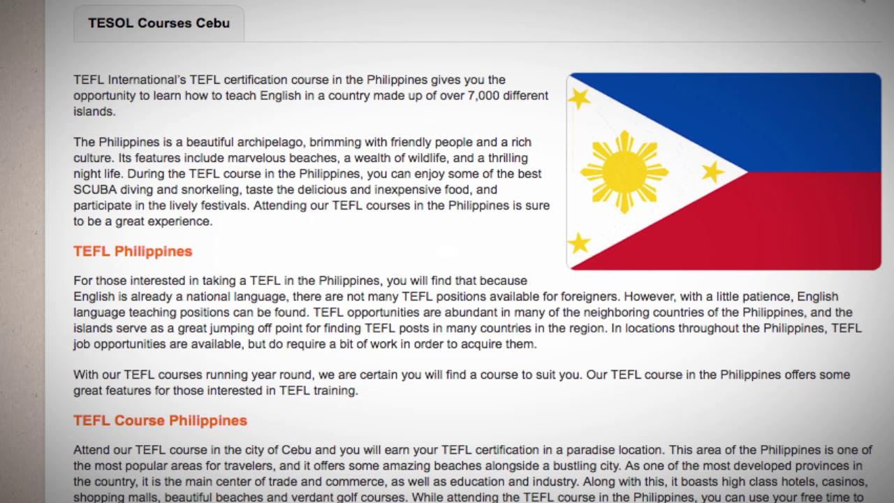 TESOL Course in the Philippines   Teach & Live abroad!
