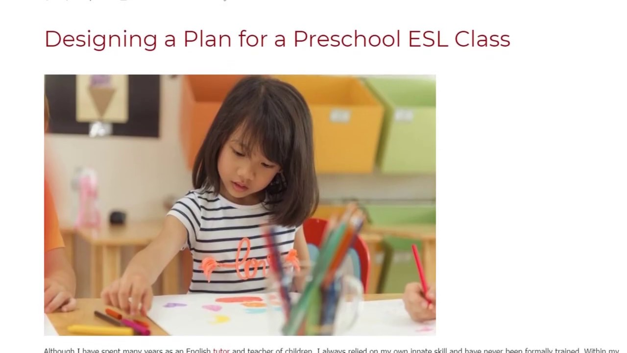 Designing a Plan for a Preschool ESL Class | ITTT TEFL BLOG
