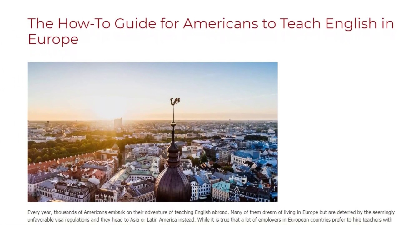 The How-To Guide for Americans to Teach English in Europe   ITTT TEFL BLOG