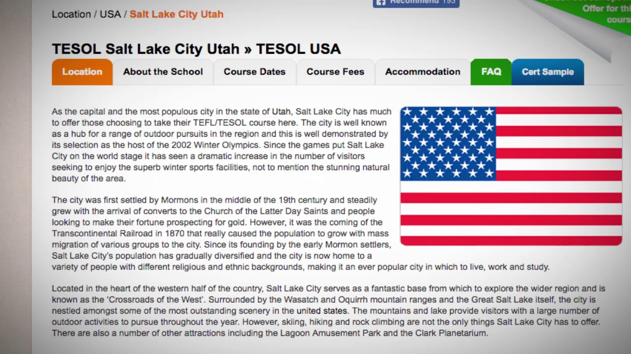 Combined TEFL / TESOL School in Salt Lake City, USA | Teach & Live abroad!