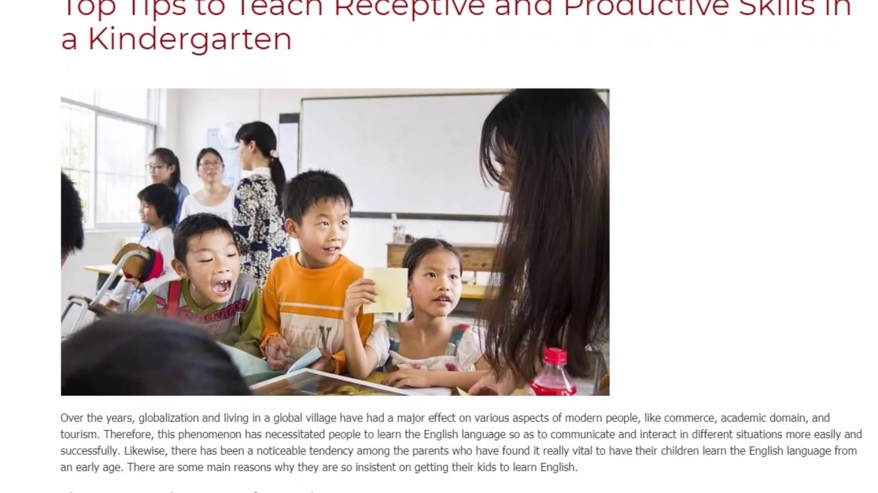 Top Tips to Teach Receptive and Productive Skills in a Kindergarten | ITTT TEFL BLOG