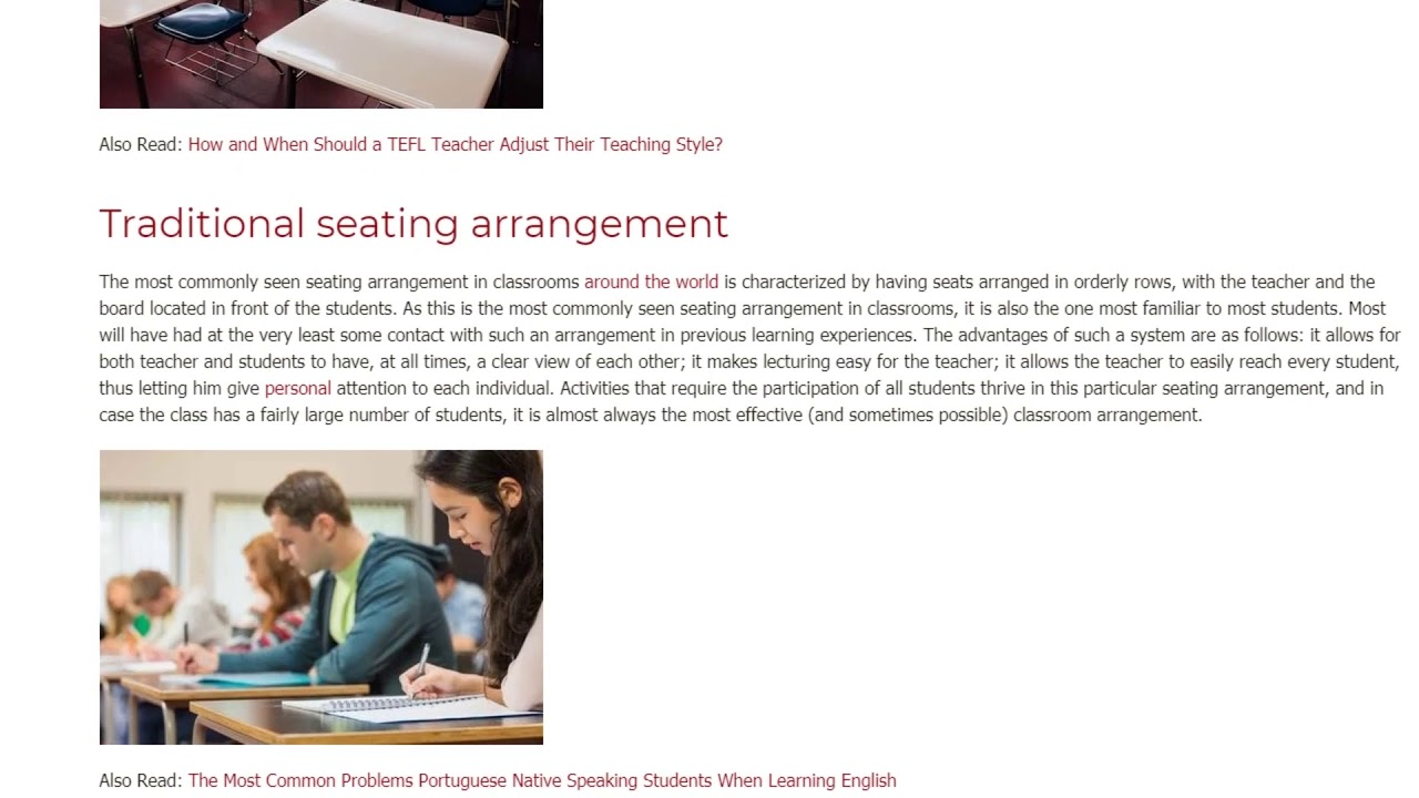 Seating Arrangement in the Classroom to Enhance English Learning   ITTT TEFL BLOG