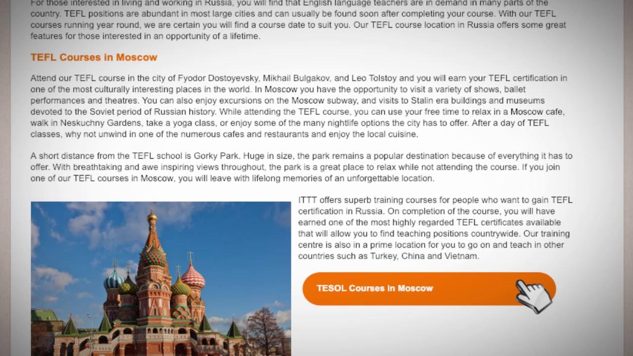 TEFL/TESOL Jobs in Russia   International TEFL and TESOL Training (ITTT)
