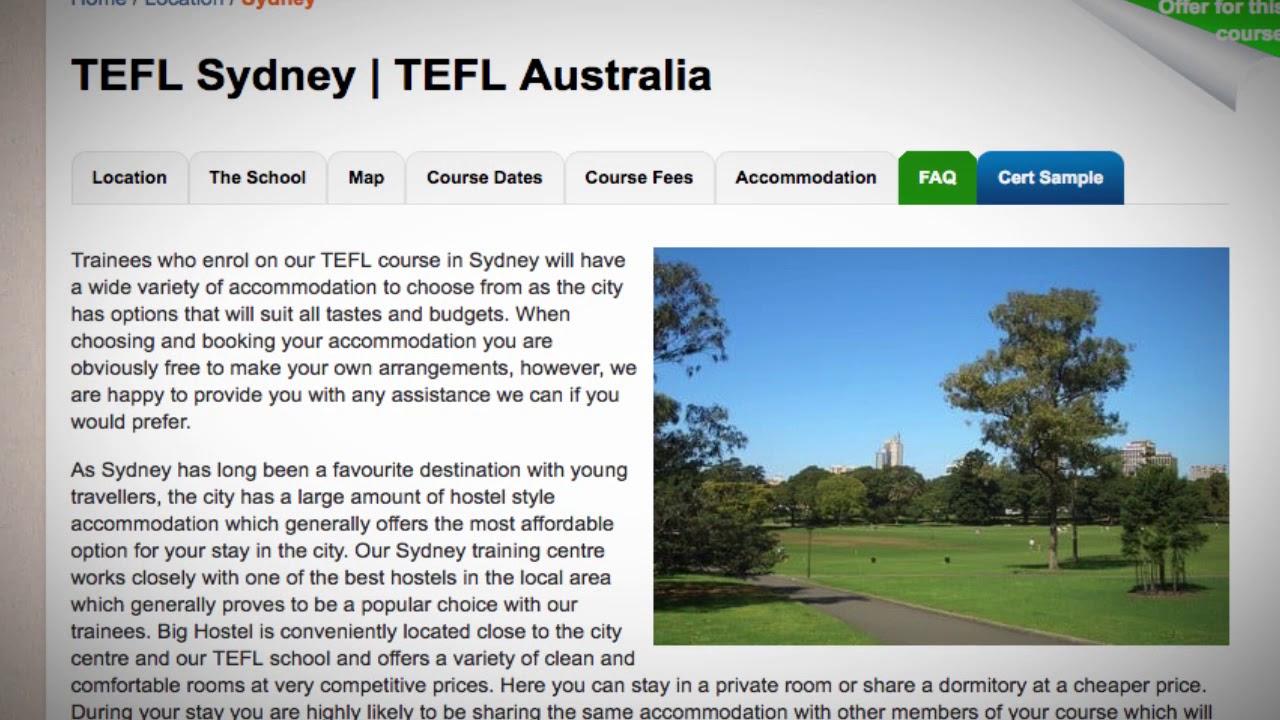TEFL / TESOL School Accommodation in Sydney, Australia   Teach & Live abroad!