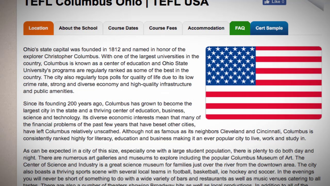 TEFL / TESOL Course in Columbus, USA   Teach & Live abroad!