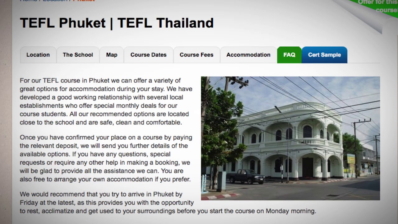 TEFL / TESOL School Accommodation in Phuket, Thailand | Teach & Live abroad!