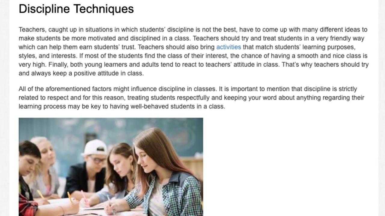 Discipline in a Language Learning Environment   ITTT   TEFL Blog
