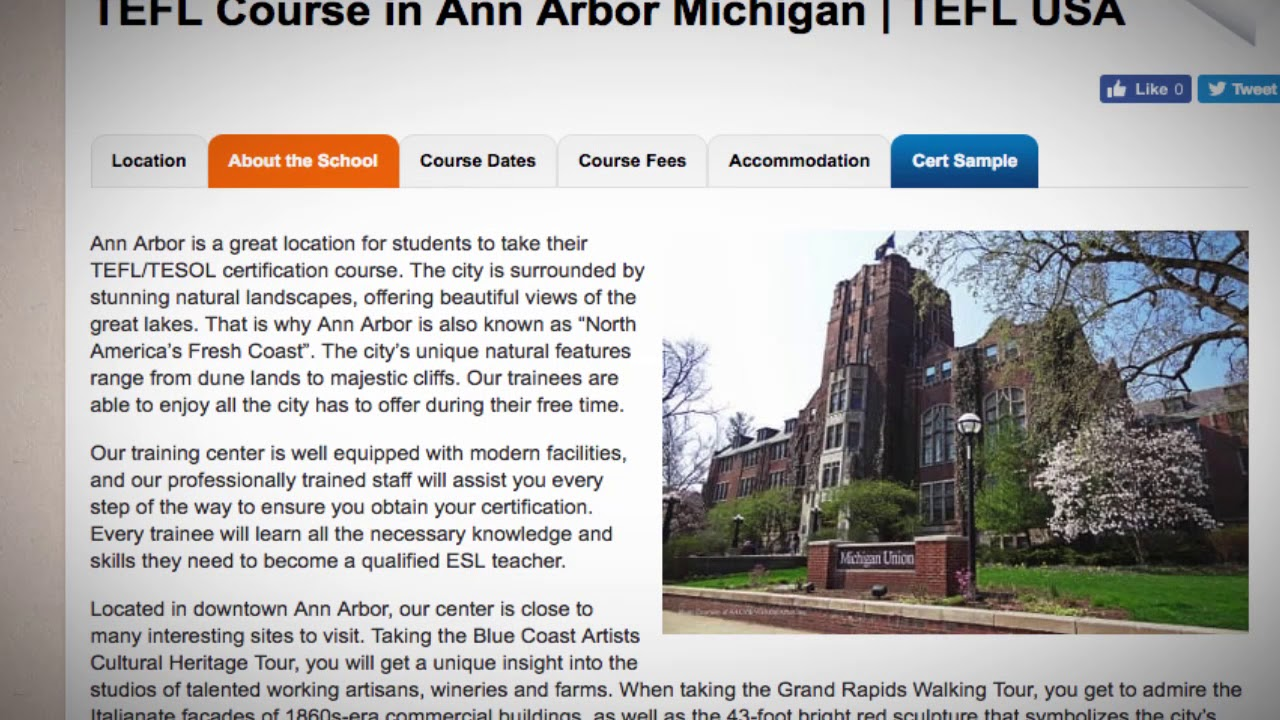 Welcome to Our TEFL / TESOL School in Ann Arbor, USA | Teach & Live abroad!