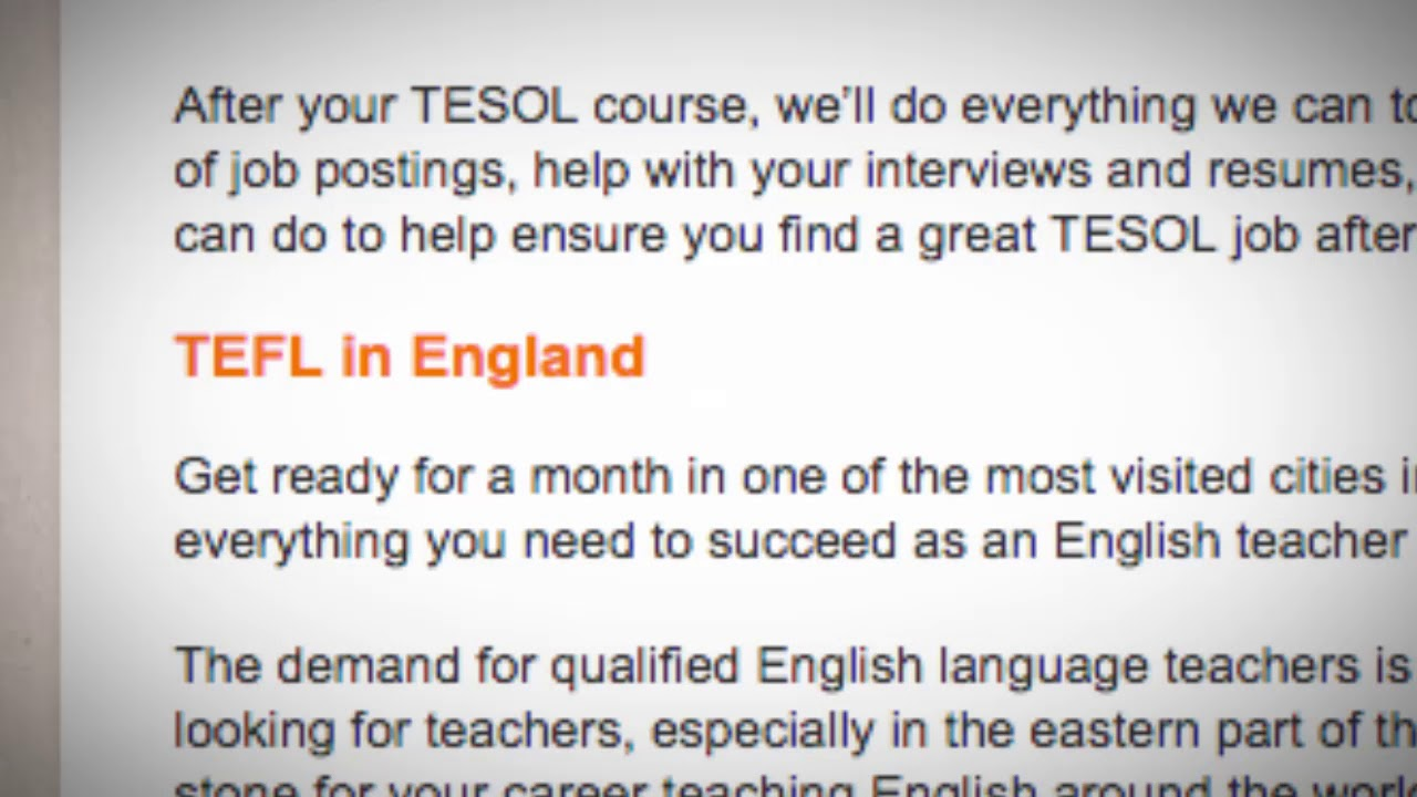 TEFL/TESOL Jobs in England | International TEFL and TESOL Training (ITTT)