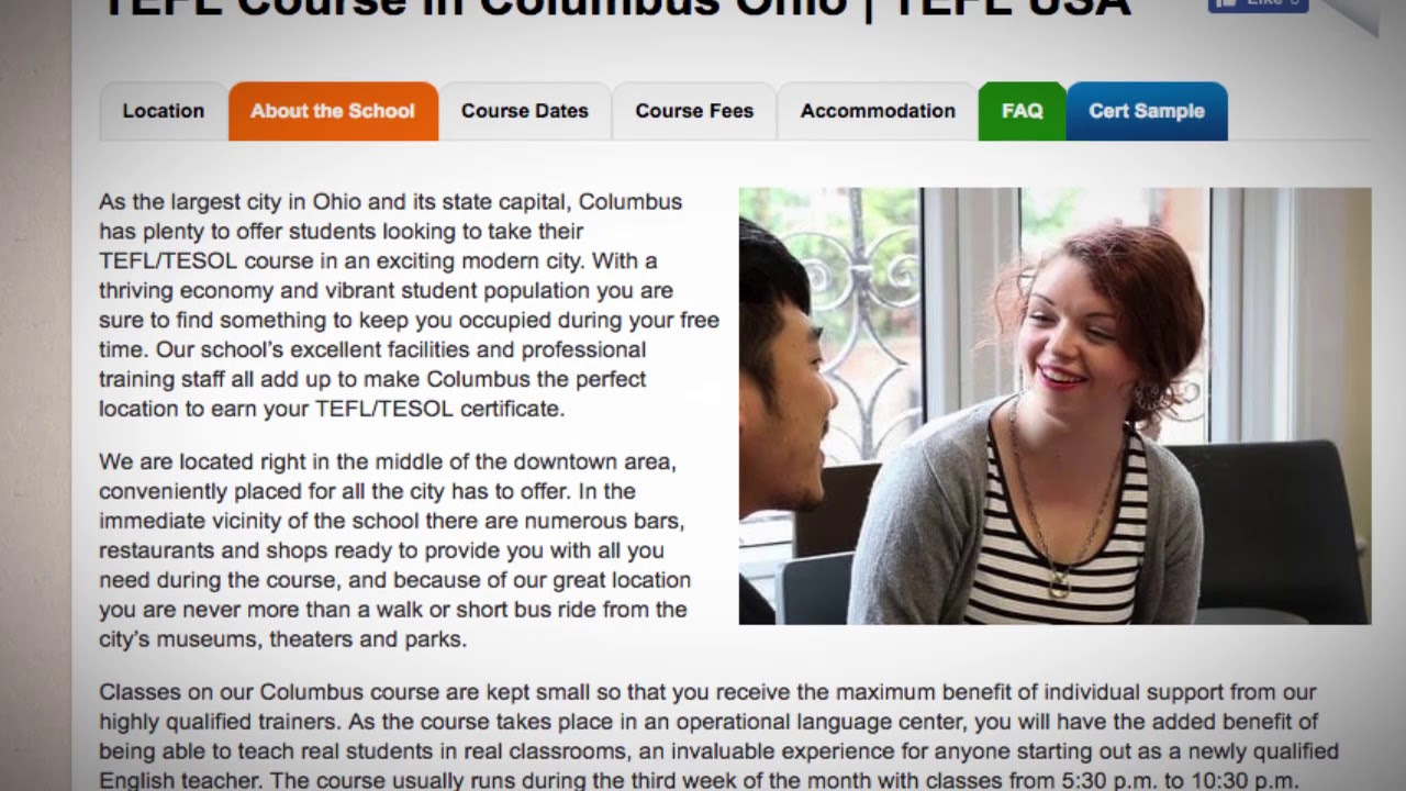 Welcome to Our TEFL / TESOL School in Columbus, USA | Teach & Live abroad!