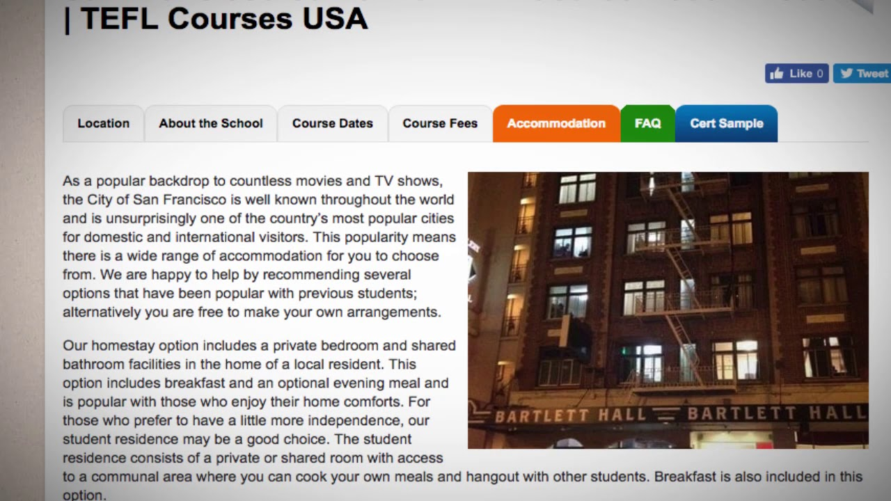 TEFL / TESOL School Accommodation in San Francisco, USA | Teach & Live abroad!