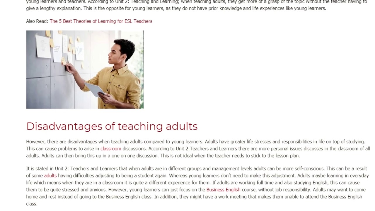 The Adult Classroom Compared to The Adolescent Classroom | ITTT TEFL BLOG