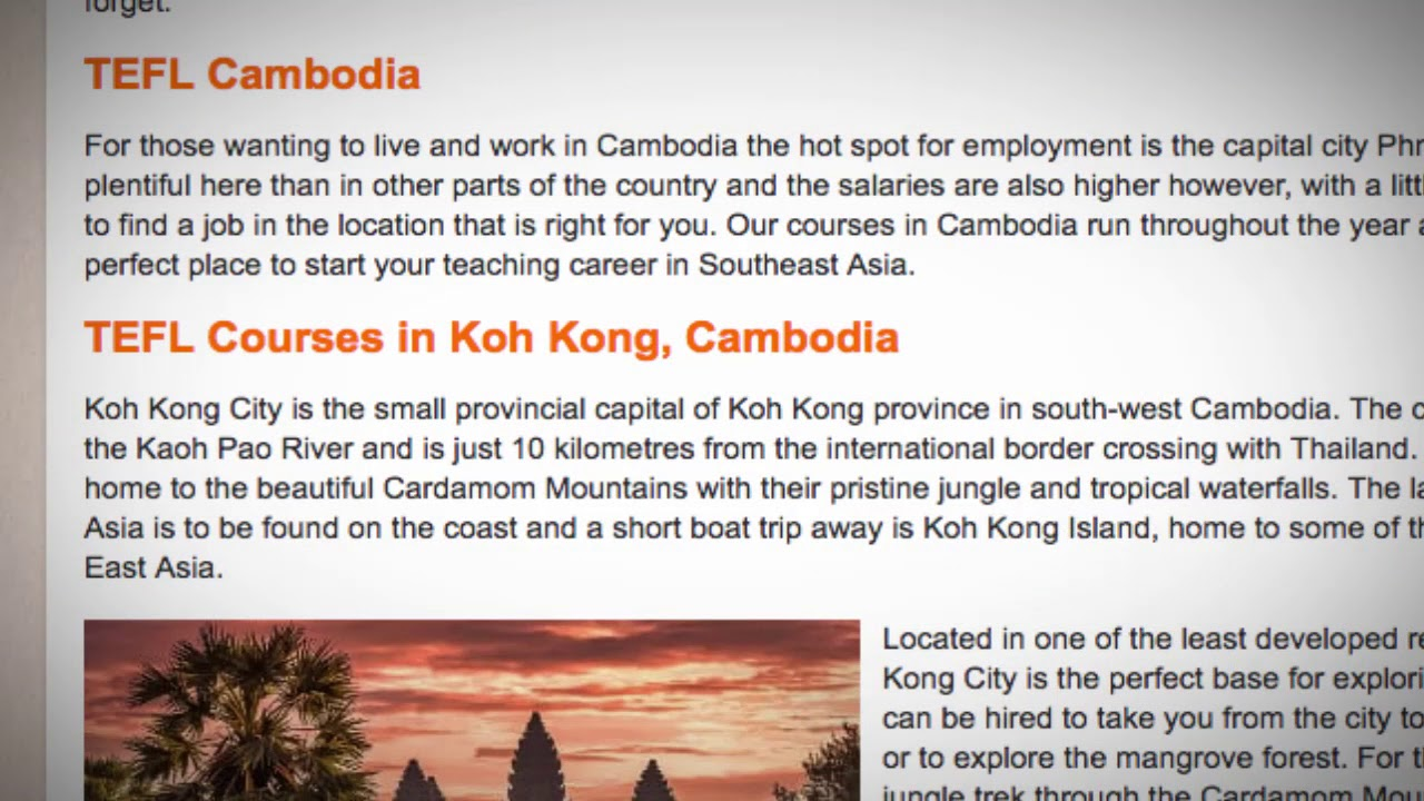 TEFL / TESOL Course in Cambodia | Teach & Live abroad!
