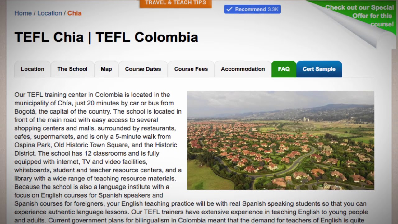 Welcome to Our TEFL / TESOL School in Chia, Colombia | Teach & Live abroad!
