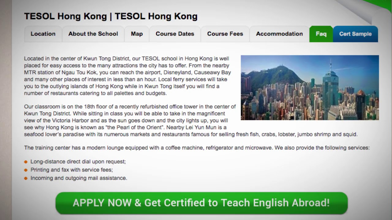 Welcome to Our TESOL School in Hong Kong | Teach & Live abroad!