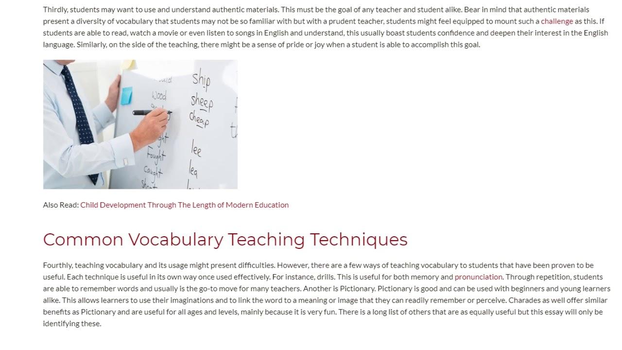 Top Reasons to Teach Vocabulary to ESL Students | ITTT TEFL BLOG