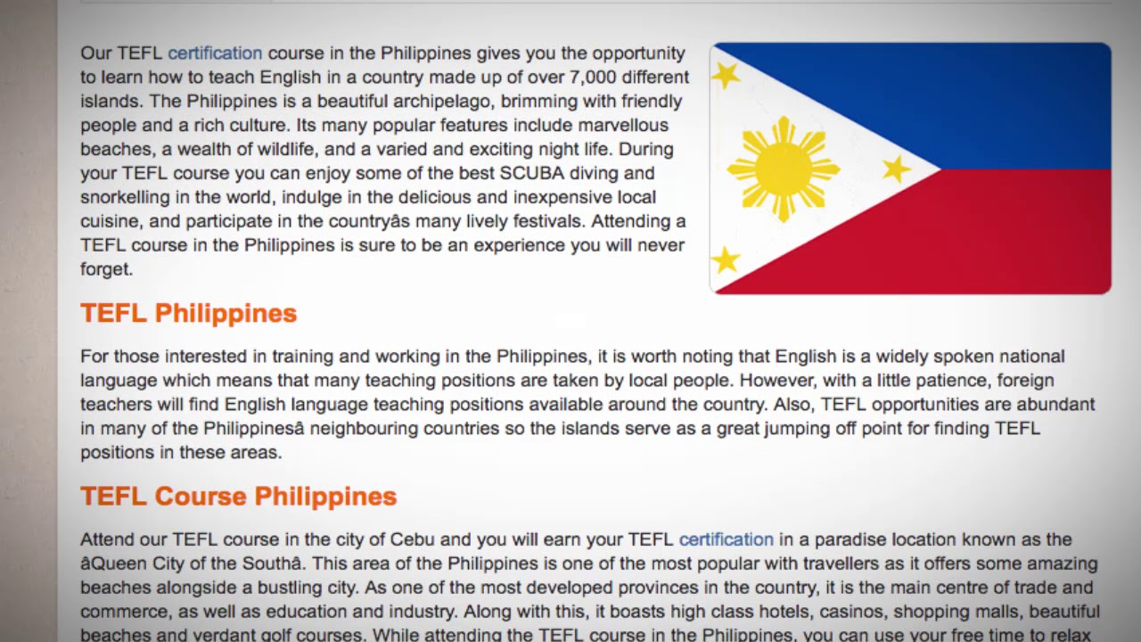 TEFL / TESOL Course in Philippines | Teach & Live abroad!