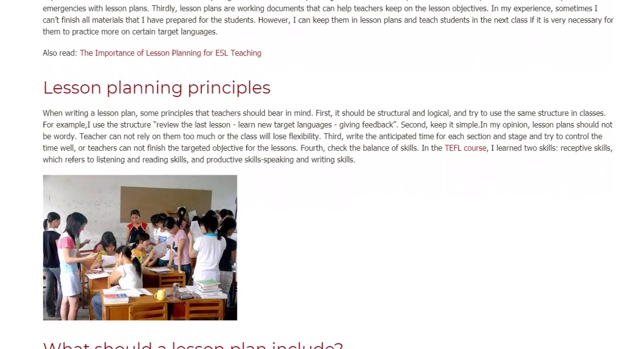 Key Functions and Principles of Lesson Planning | ITTT | TEFL Blog
