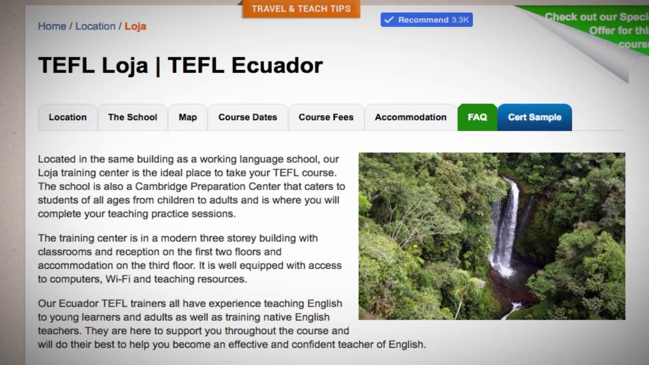 Welcome to Our TEFL / TESOL School in Loja, Ecuador | Teach & Live abroad!