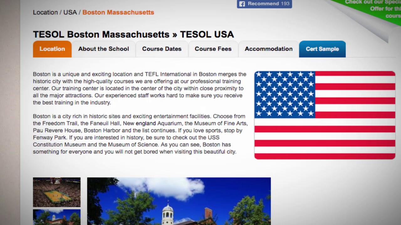 Combined TEFL / TESOL School in Boston, USA | Teach & Live abroad!