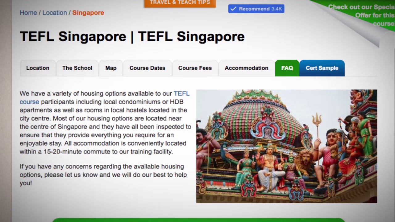 TEFL / TESOL School Accommodation in Singapore | Teach & Live abroad!