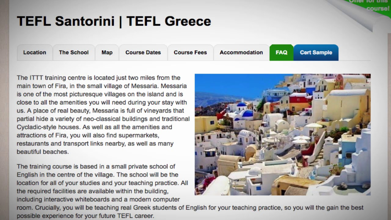 Welcome to Our TEFL / TESOL School in Santorini, Greece | Teach & Live abroad!