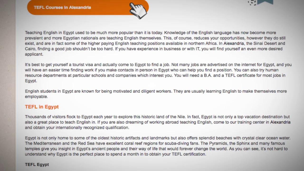 TEFL/TESOL Jobs in Egypt   International TEFL and TESOL Training (ITTT)