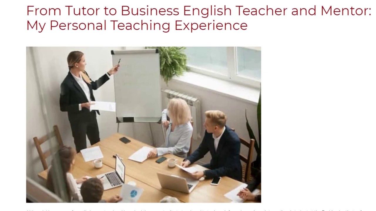 From Tutor to Business English Teacher and Mentor: My Personal Teaching Experience | ITTT TEFL BLOG