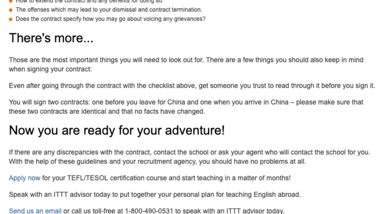 What to Watch Out for Before Signing Your TEFL Contract in China | ITTT TEFL BLOG
