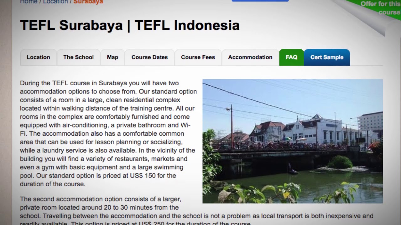 TEFL / TESOL School Accommodation in Surabaya, Indonesia | Teach & Live abroad!